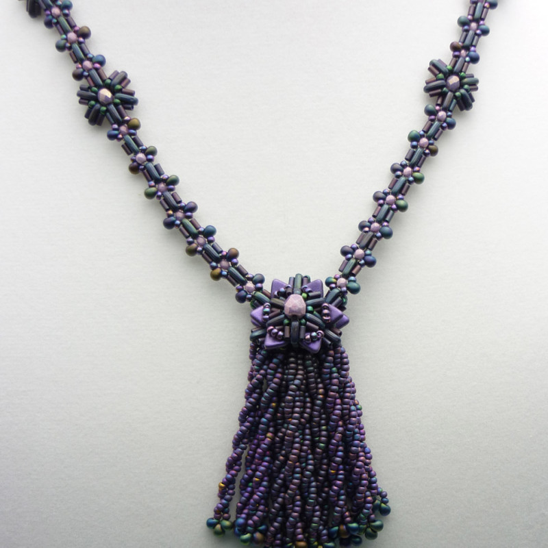 Purple Tassel Necklace with CzechMate Two-hole Bars