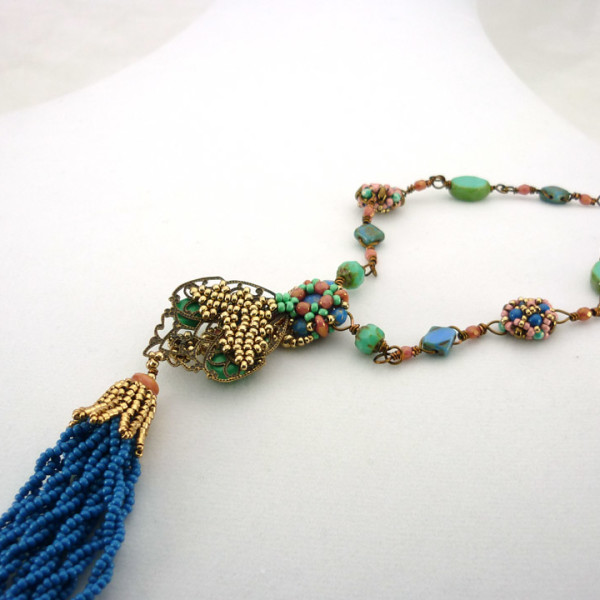 Back of Serena Tassel Necklace, showing how component is attached with hand-beaded
